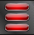 red oval glass buttons on metal perforated vector image vector image