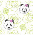 romantic seamless pattern with cute panda girl vector image
