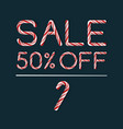 sale 50 in candy cane style vector image vector image