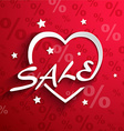 Sale poster Paper heart shape with word SALE stars vector image