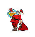 santa claus drinking beer christmas and new year vector image vector image