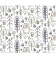 seamless pattern with hand drawn bear in vector image vector image
