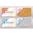Set of golden and silver glitter discount cards vector image
