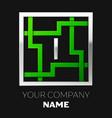 silver letter i logo symbol in the square maze vector image vector image