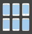 smartphone icon set isolated on black background vector image vector image