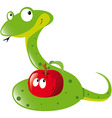 snake and apple vector image vector image
