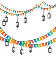 street decoration flags and lanterns vector image vector image
