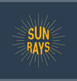 sun rays logotype linear drawing vintage and vector image vector image