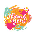thank you card on abstract brush background vector image