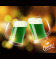 two mugs with green beer clinking glasses st vector image vector image