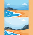 two ocean scenes with blue sky vector image