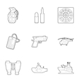 Weapons icons set outline style vector image vector image