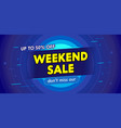 weekend sale advertising banner with typography vector image vector image