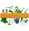 wooden board with garden tools vector image vector image
