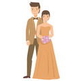 a bride and his couple wearing dress in their vector image