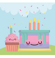 birthday cake and cupcake with candles menu vector image vector image
