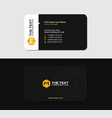 black business card with the yellow letter m vector image vector image