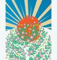 blooming sakura banner vector image vector image