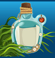 blue bottles closed with cork on the seabed vector image