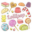 candy and lollipops hand drawn doodle vector image vector image