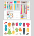 cartoon fashion wardrobe woman vector image vector image