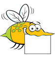 cartoon flying insect holding a sign vector image vector image