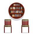 Chairs With Round Bookshelf On Wall vector image vector image