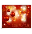 Christmas New Year greeting Three shiny red vector image vector image