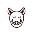 cute face wild boar animal cartoon icon thick line vector image vector image