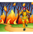 Fireman at the wild fire scene vector image vector image