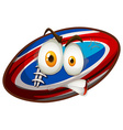 Football with angry face vector image vector image