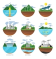 Generation energy types Power plant icons vector image vector image