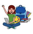 girl with laptop backpack and books education vector image vector image