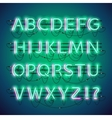 Glowing Double Neon Green Alphabet vector image vector image