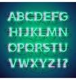 glowing double neon green alphabet vector image vector image