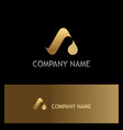 gold letter a water drop logo vector image
