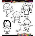 happy kids cartoon coloring book vector image