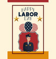 happy labor day card with police and usa flag vector image