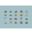 kinds transport set colorful outline icons vector image