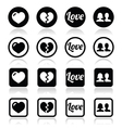 Love heart couple icons for Valentines day vector image