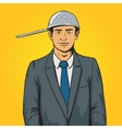 Man with strainer on head pop art style vector image vector image