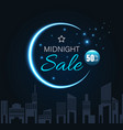 midnight sale with crescent moon vector image