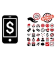 Mobile Balance Flat Icon with Bonus vector image vector image