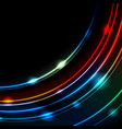 neon glowing arc lines abstract background vector image vector image