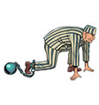 prisoner in a striped robe with a core vector image