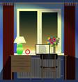 room desk laptop alarmclock lamp window vector image