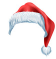 santa red hat with fluffy edge shaggy fur vector image vector image