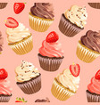 seamless cupcakes on pink background vector image