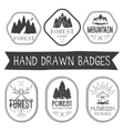 set of hand drawn forest camp labels in vector image vector image