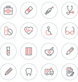 Set of Thin Line Medicine and Healthy Icons vector image vector image
